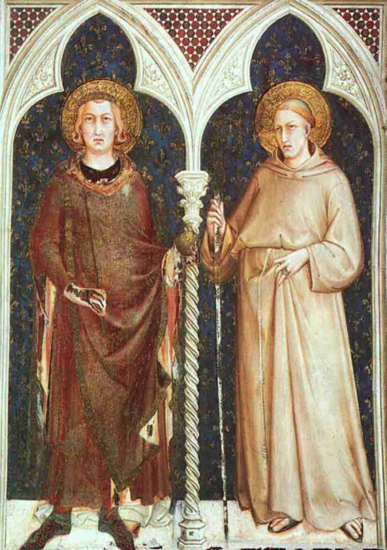 St Luigi the IXth king of France and St Ludovico Angevine by Simone Martini - Assisi Lower Church of St Francesco (Entrance Arch)